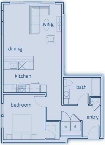 1 Bed, 1 Bath, 766 sq. ft. The Cypress floor plan
