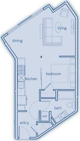 1 Bed, 1 Bath, Up to 588 sq. ft. The Waldron, The Decatur and The Sucia floor plan