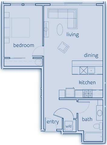1 Bed, 1 Bath, 725 sq. ft. The Guemes floor plan