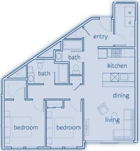2 Bed, 2 Bath, 965 sq. ft. The Orcas floor plan