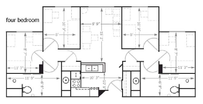Floor plan Bierman Place Apartments in Minneapolis, MN_Quad