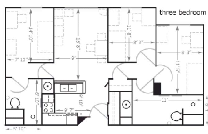 Floor plan Bierman Place Apartments in Minneapolis, MN_Trio