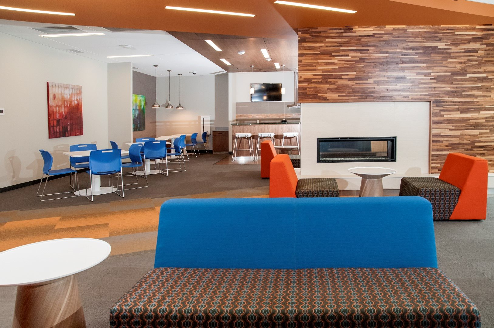 Community Clubhouse with Fireplace at Terra Pointe Apartments, St. Paul, Minnesota