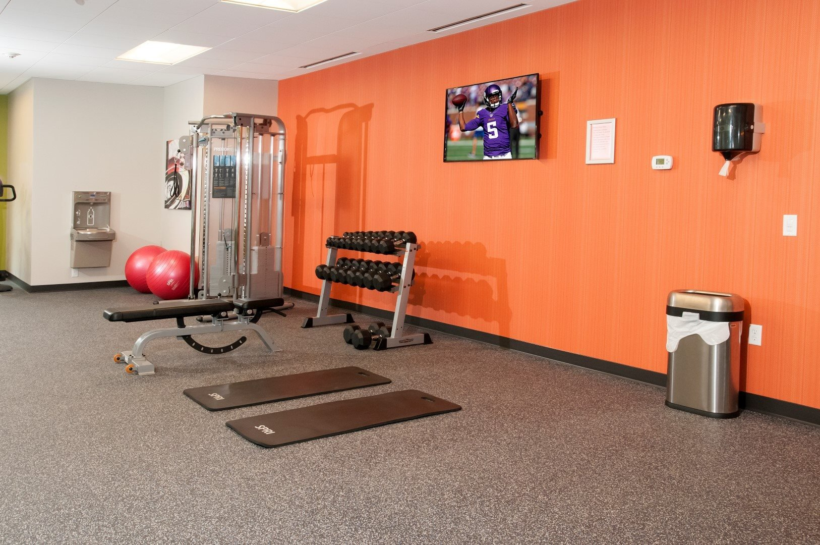 Fitness Center with Free Weights with TV at Terra Pointe Apartments, St. Paul
