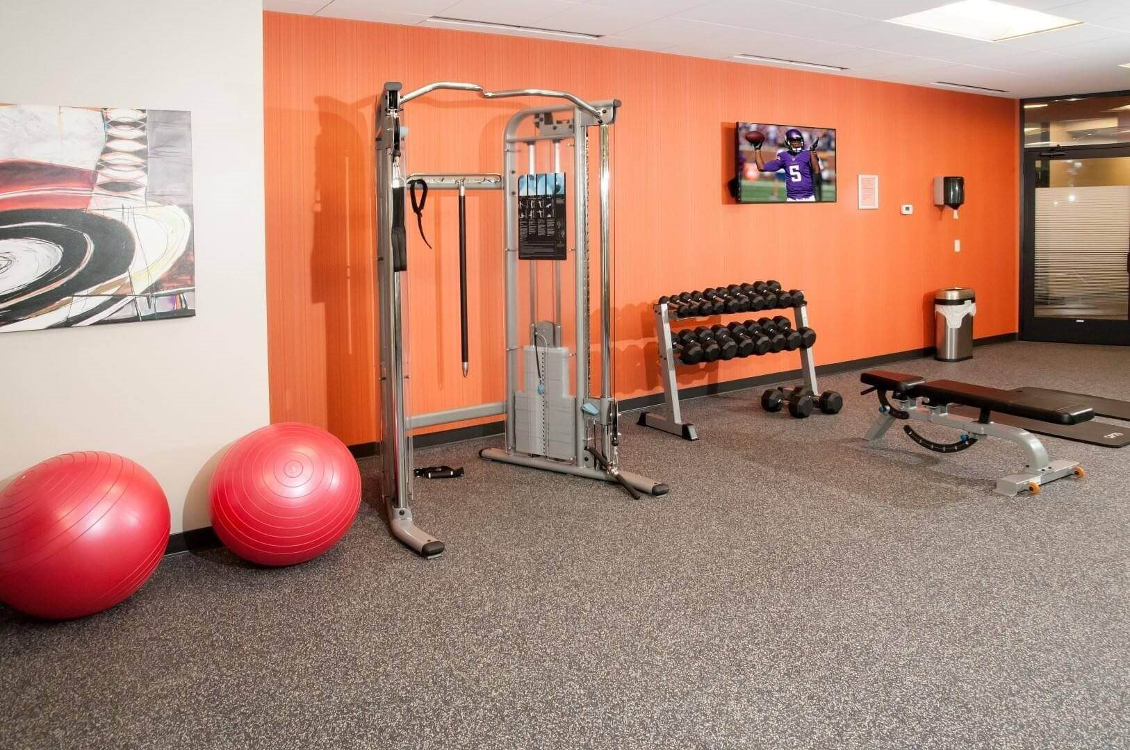 Fitness Center with Separate Spin Room at Terra Pointe Apartments, St. Paul, Minnesota
