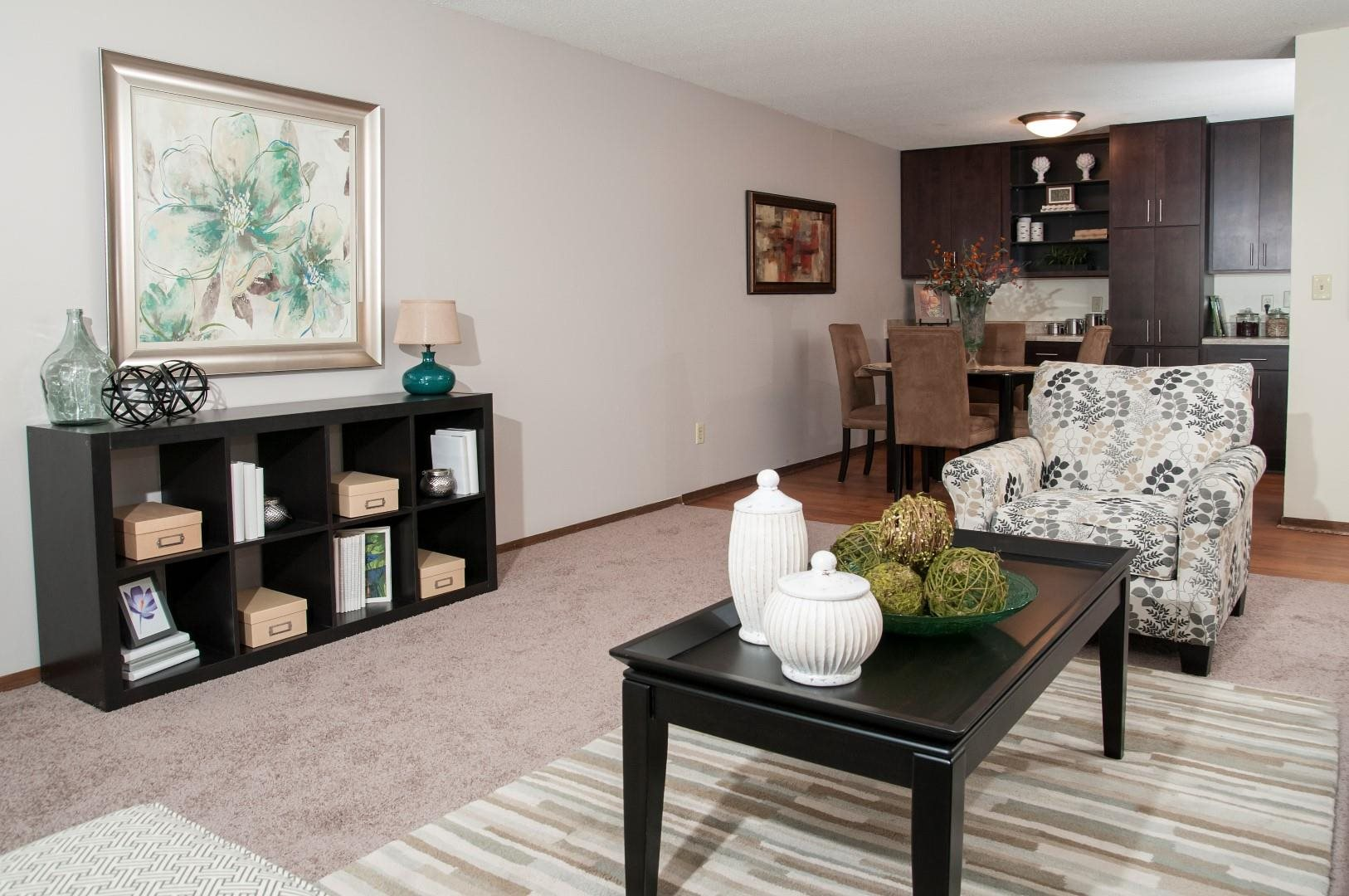 Living Room with Built - In Shelving at Terra Pointe Apartments, St. Paul, 55119