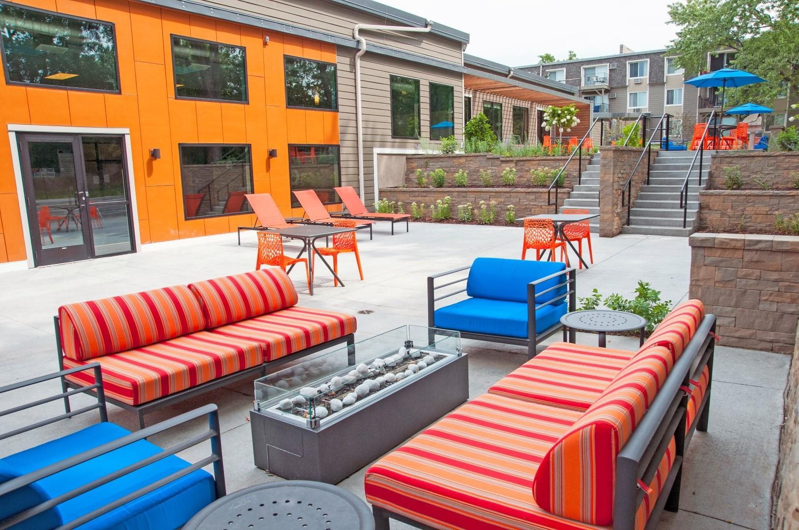 Outdoor Lounge with Relaxing Fire Pit at Terra Pointe Apartments, St. Paul, 55119