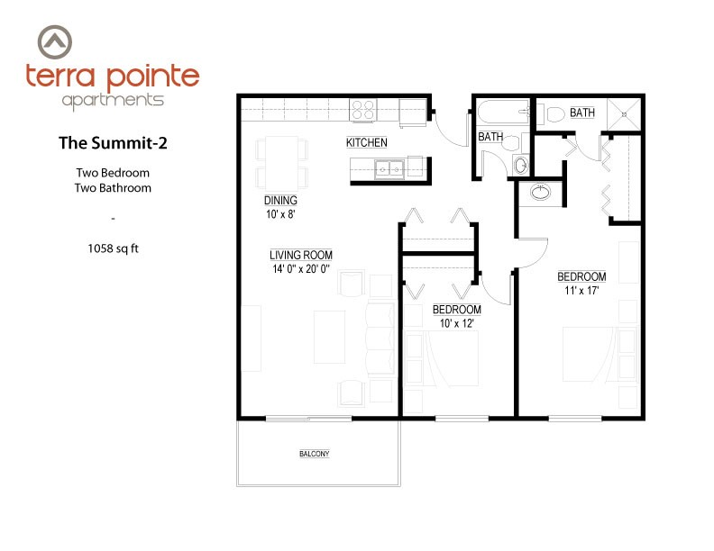 Floor plan at Terra Pointe Apartments, St. Paul, MN 55119