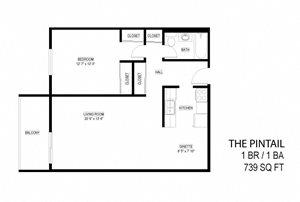 1 Bed 1 Bath The Pintail Floor Plan at Eagan Place, Eagan, Minnesota