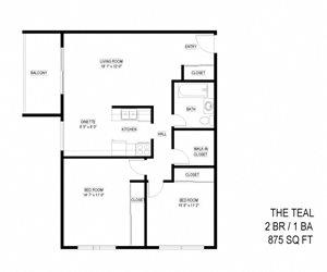 2 Bed 1 Bath The Teal Floor Plan at Eagan Place, Eagan, Minnesota