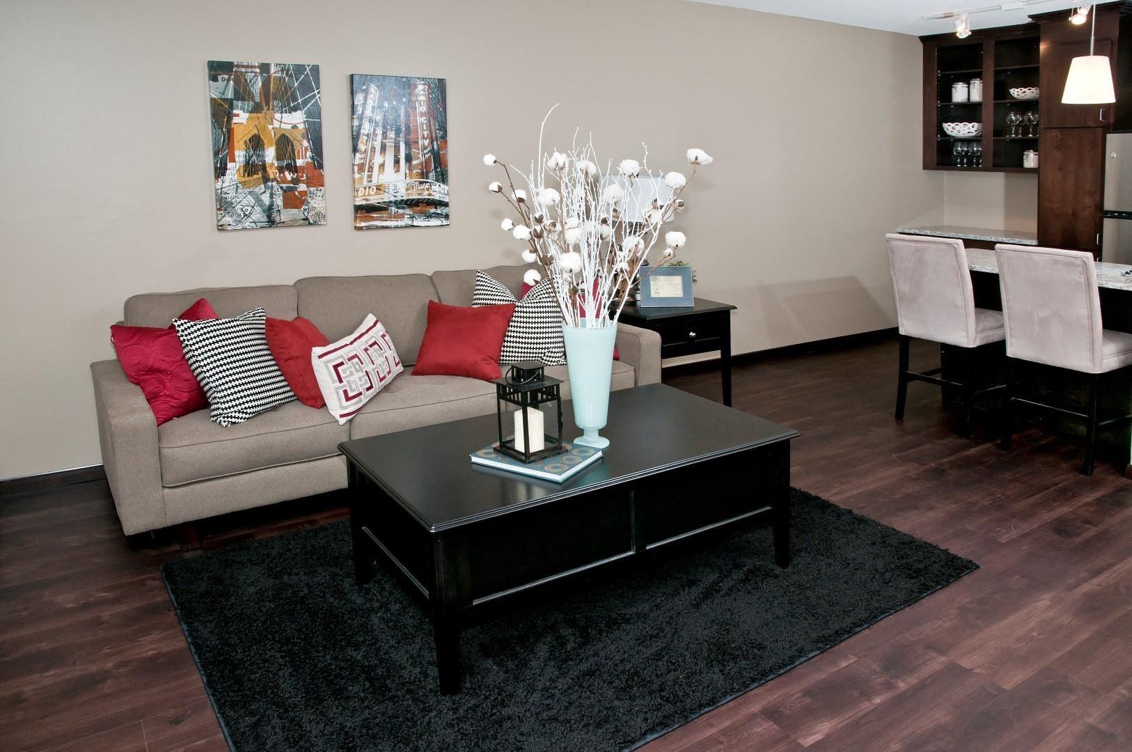 Deep Brown Hardwood Floors in Spacious Living Room in apartment in Minneapolis, MN