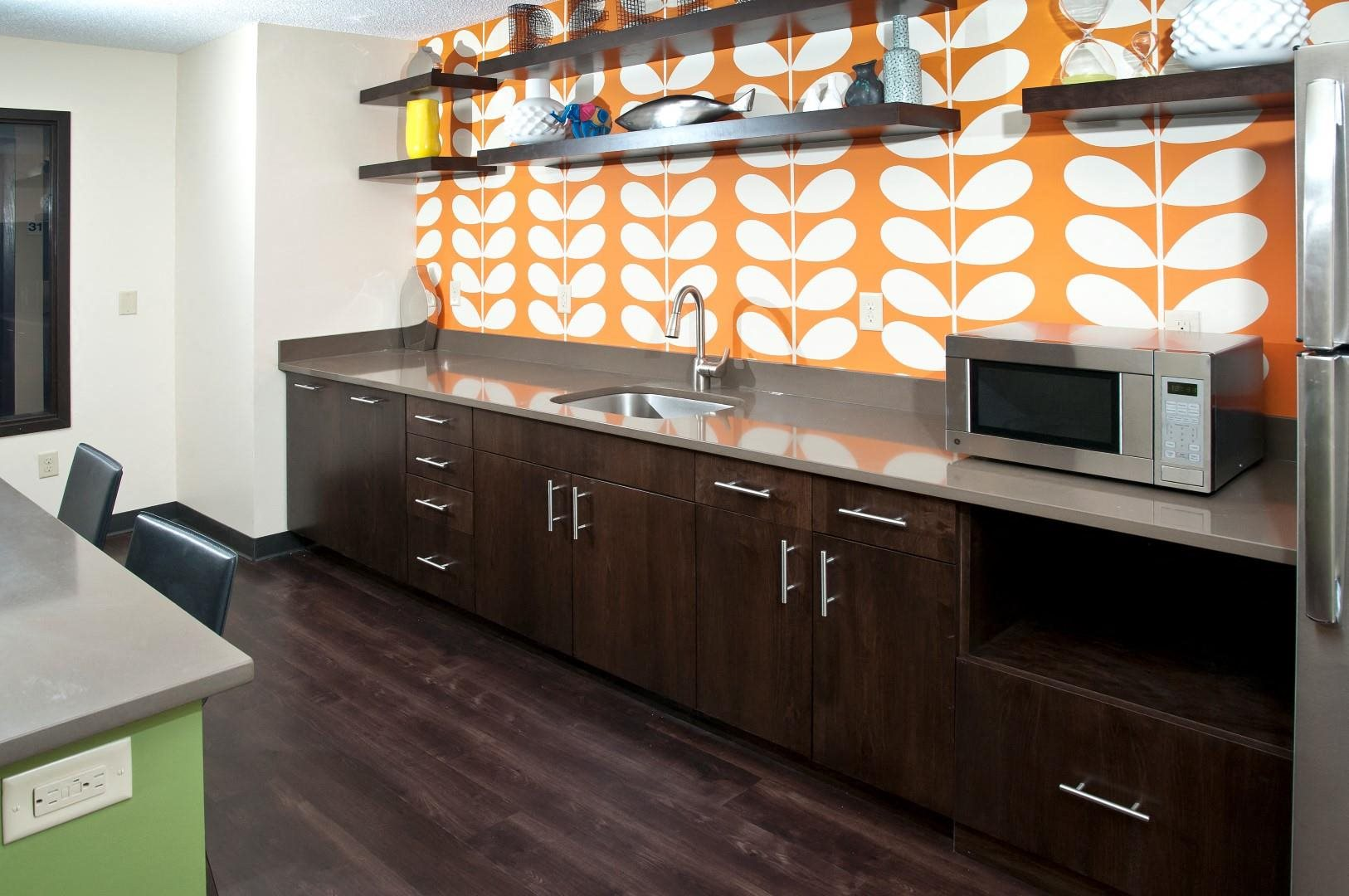 Kitchenette in Club Room of 2800 Girard Apartments