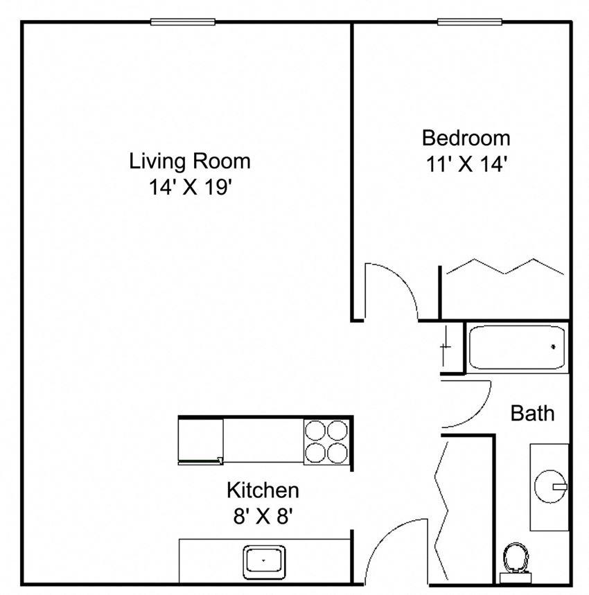 Floor plan at Hillsborough Apartments, Roseville, MN
