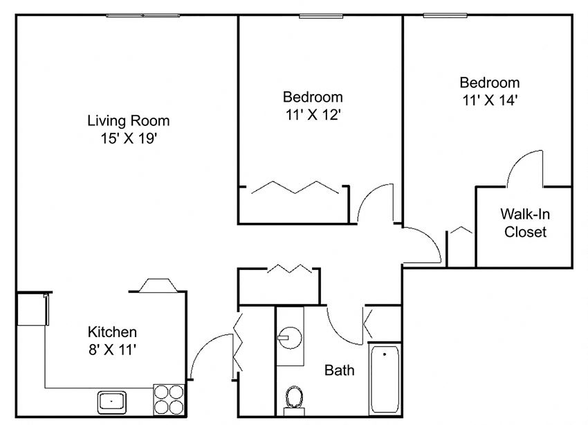 Floor plan at Hillsborough Apartments, Minnesota
