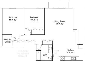 Floor plan at Hillsborough Apartments, Minnesota, 55113