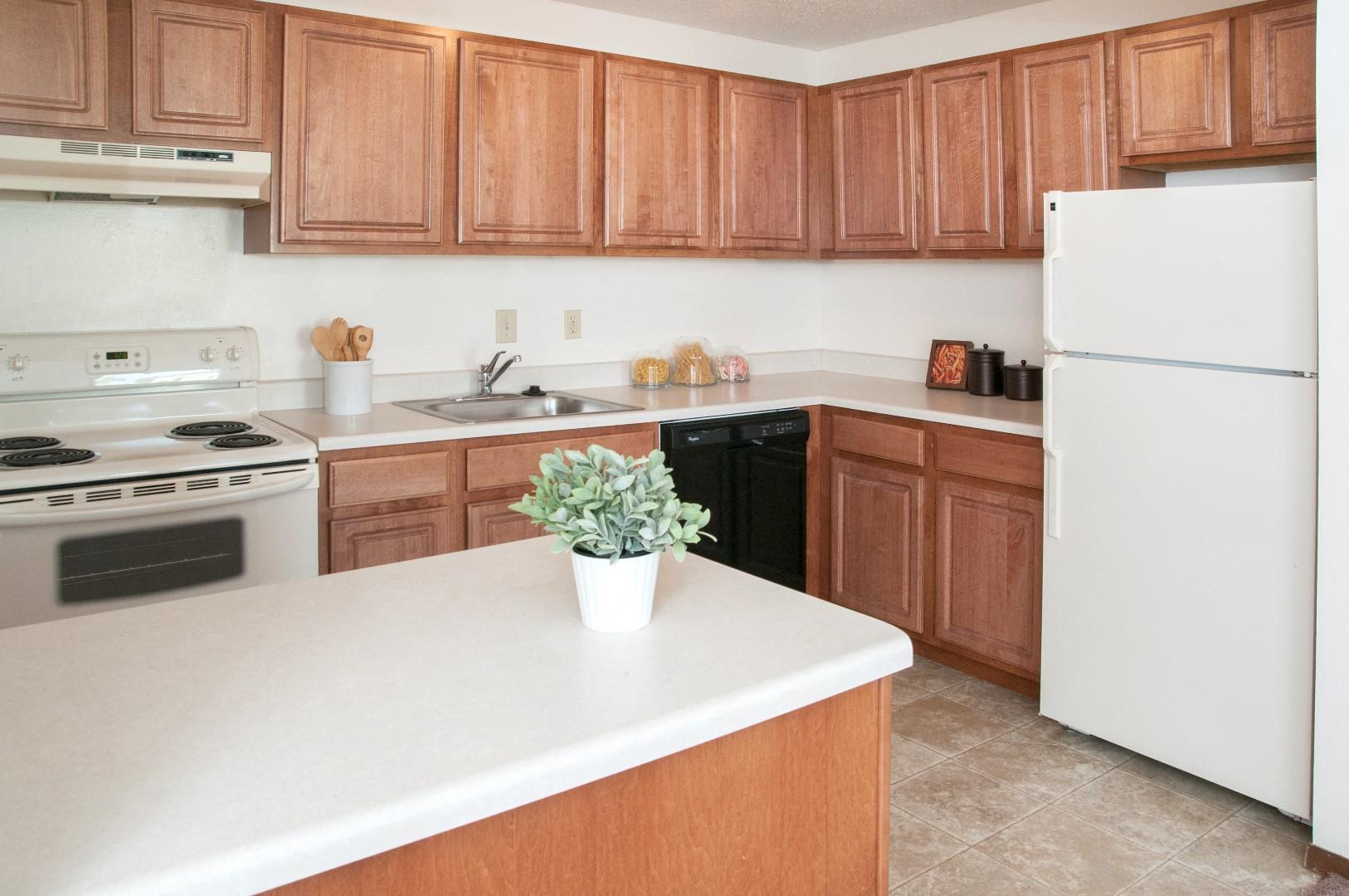 All Electric Kitchen at Hillsborough Apartments, Roseville, MN