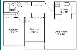 Floor plan at Hillsborough Apartments, Roseville, 55113