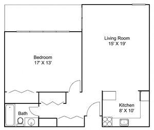 Floor plan at Hillsborough Apartments, Roseville, MN 55113