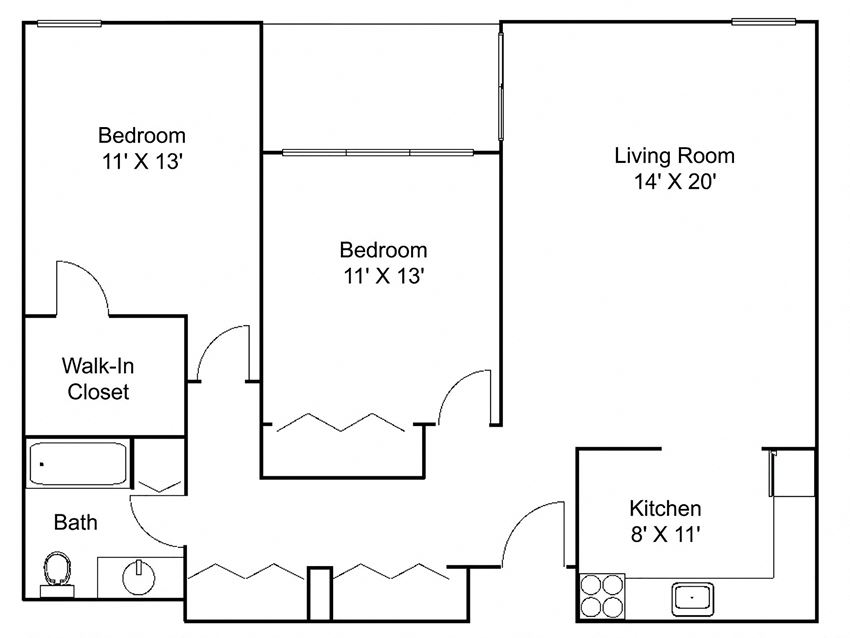 Floor plan at Hillsborough Apartments, Roseville, Minnesota
