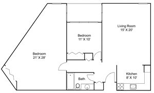Floor plan at Hillsborough Apartments, Roseville