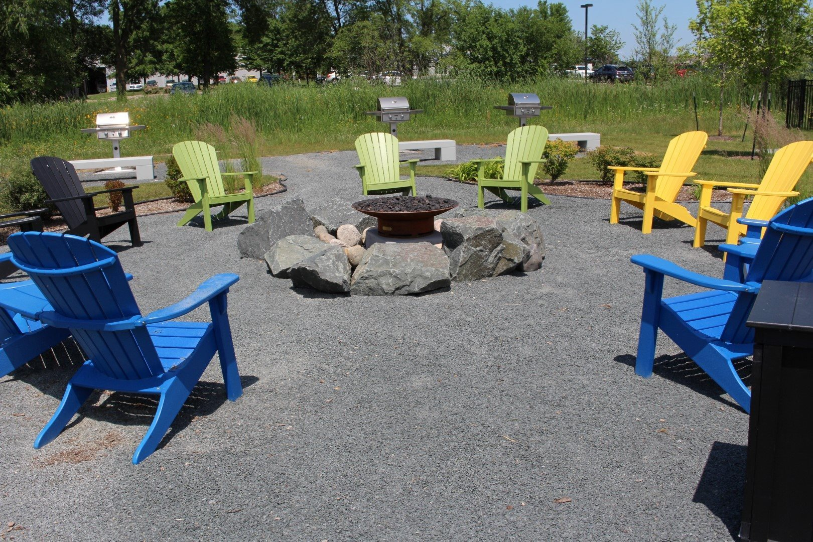 Seating Arrangement around Fire Pit at Shoreview Grand, Shoreview, 55126