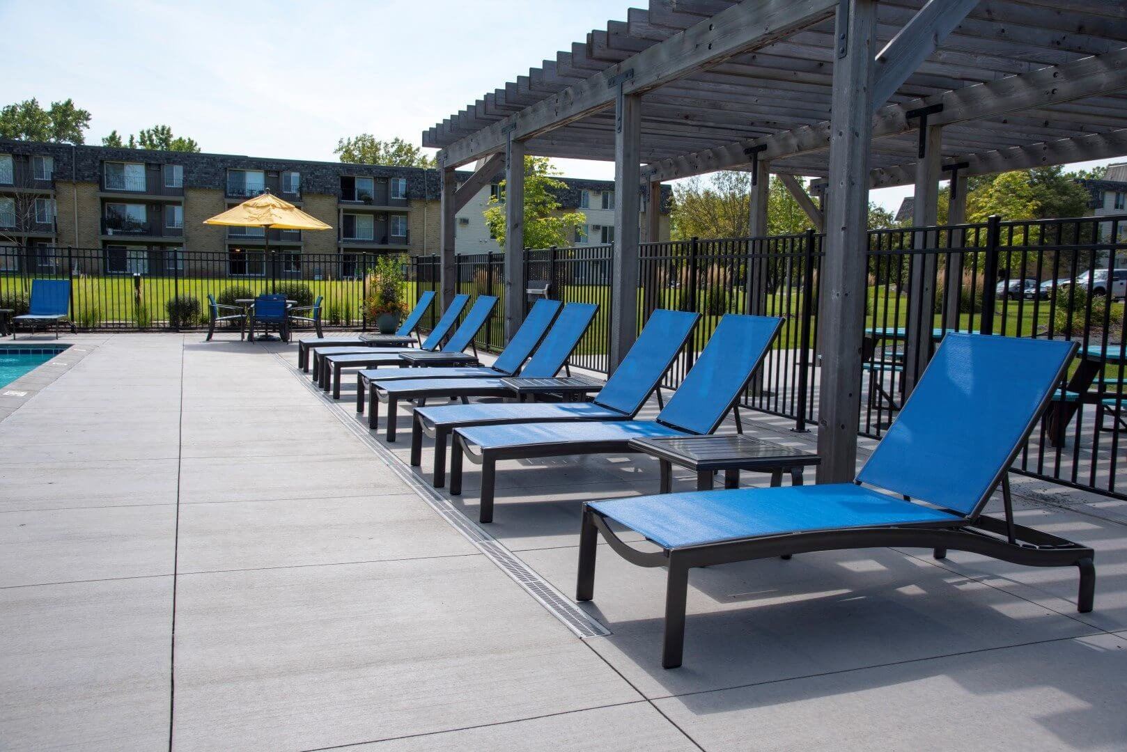 Swimming pool area at Shorview Grand new apartments in Shoreview