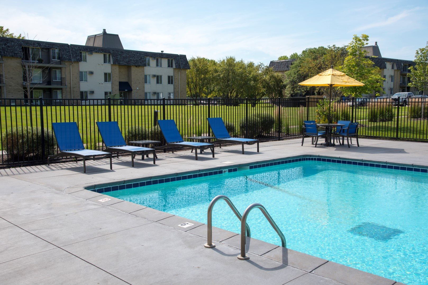 Pool area at Shorview Grand best apartments in Shoreview