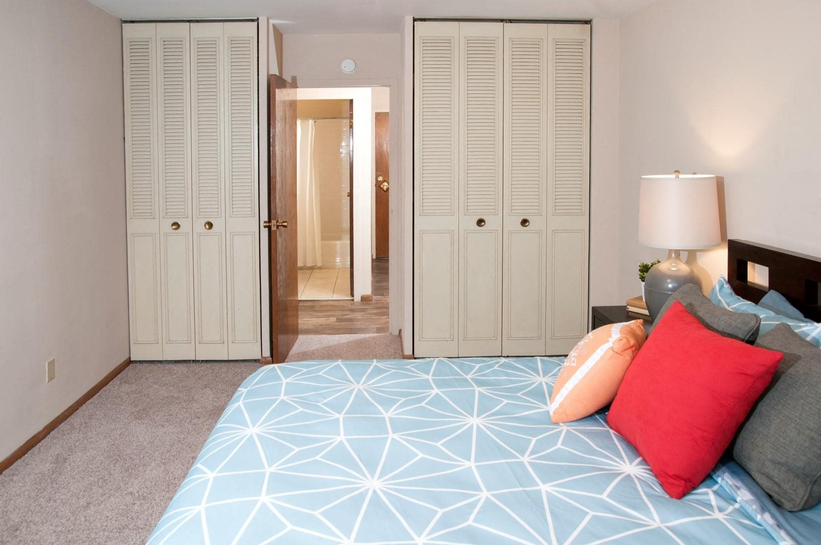 Two Double Door Closets in Master Bedroom of Boulevard 100 Apartments in St. Louis Park, MN