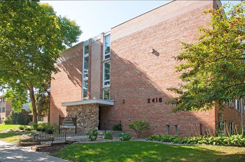 Brick Exterior of  2416 Blaisdell Apartments in Minneapolis, MN