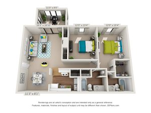 The Birch Floor Plan Rendering at Hawthorne Creekside in Chattanooga TN