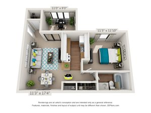 The Briarwood Floor Plan Rendering at Hawthorne Creekside in Chattanooga TN