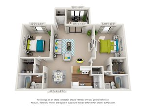The Maple Floor Plan Rendering at Hawthorne Creekside in Chattanooga TN