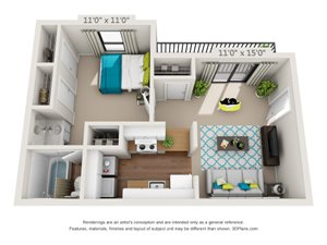 The Meadowood Floor Plan Rendering at Hawthorne Creekside in Chattanooga TN