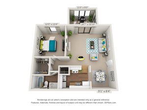 The Ravenwood Floor Plan Rendering at Hawthorne Creekside in Chattanooga TN