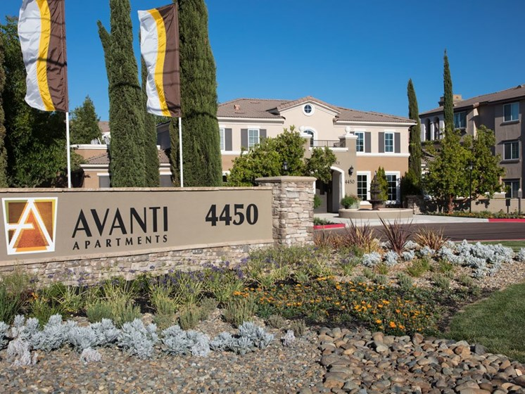 Avanti monument sign outside community
