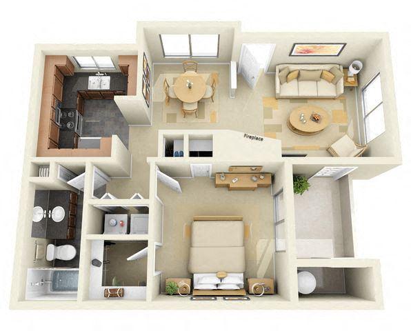 1 Bedroom 1 Bathroom Floor Plan