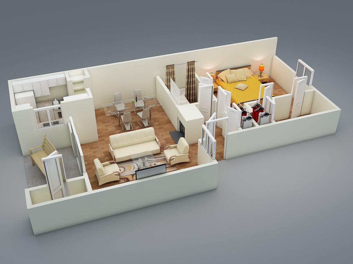 One Bed | One Bath | C2 Floor Plan 2