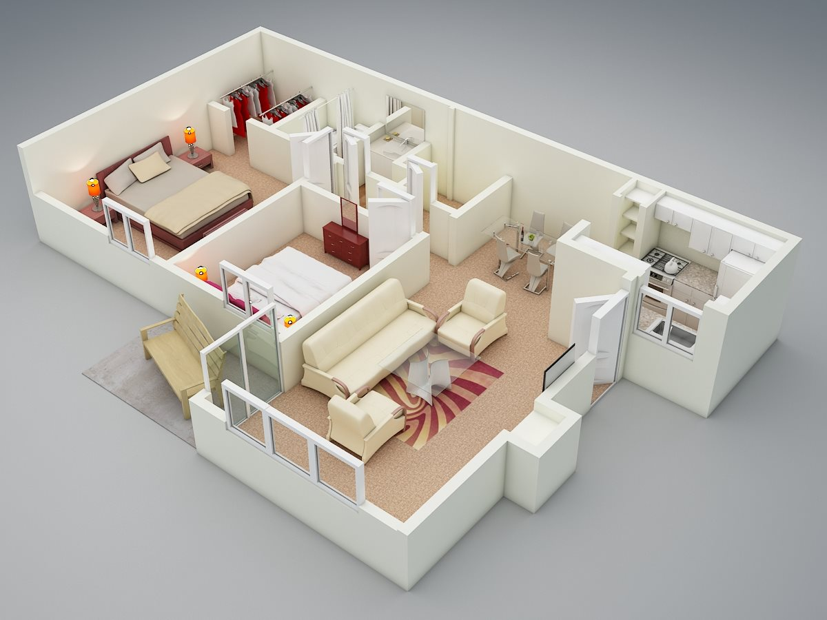 Two Bed | One Bath | D1 Floor Plan 3