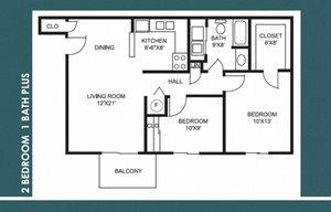 2 Bed 1 Bath Plus FloorPlan at Bradford Place Apartments, Indiana