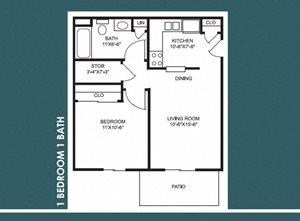 1 Bed 1 Bath FloorPlan at Bradford Place Apartments, Indiana, 47909