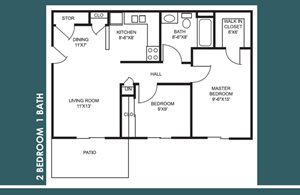 2 Bed 1 Bath FloorPlan at Bradford Place Apartments, Lafayette, IN, 47909