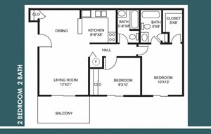 2 Bed 2 Bath FloorPlan at Bradford Place Apartments, Lafayette, IN