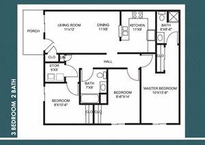 3 Bed 2 Bath FloorPlan at Bradford Place Apartments, Lafayette, 47909
