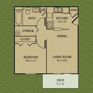 One Bedroom - Bradford Ridge Apartments in Bloomington, Indiana