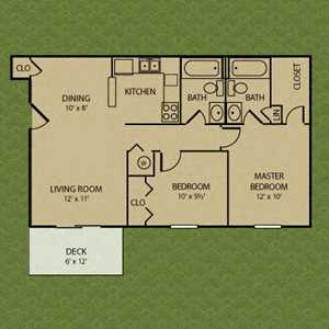 Two Bedroom- Bradford Ridge Apartments in Bloomington, Indiana