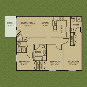 three bedroom, Bradford Ridge Apartments in Bloomington, Indiana