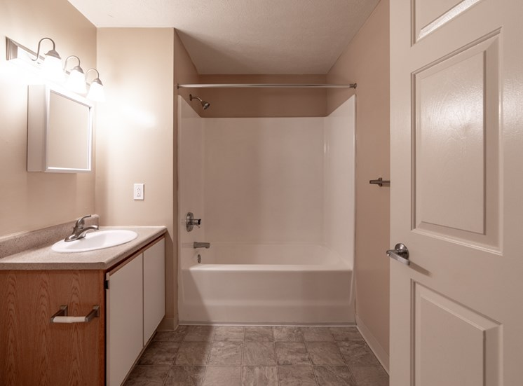 Oval Tub With Combo Shower at Bradford Ridge Apartments, Bloomington