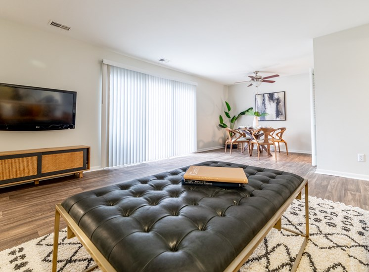 Classic Living Room Design With Television at Governor Square Apartments, Carmel, 46032
