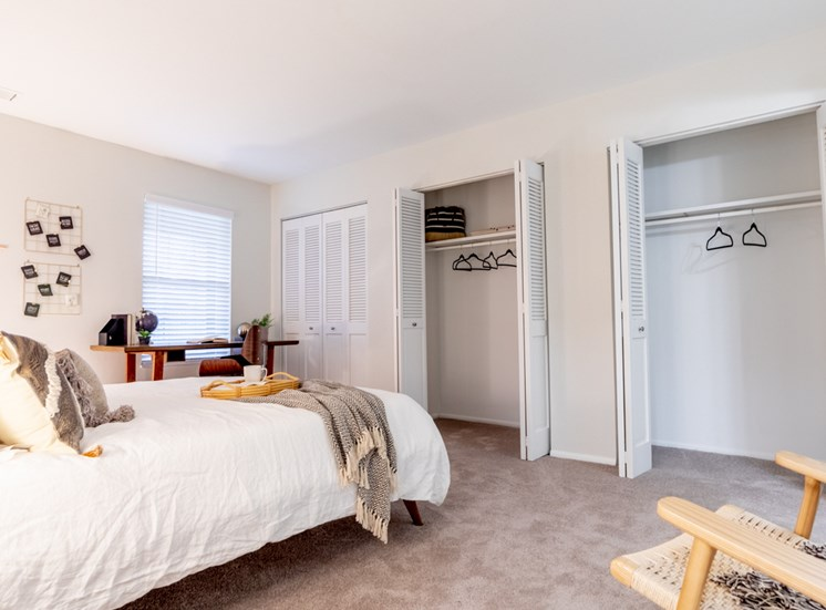 Comfortable Bedroom With Accessible Closet at Governor Square Apartments, Carmel, Indiana