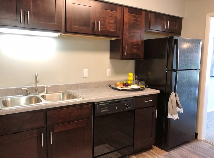 Black Appliances in the Governor Square Kitchens